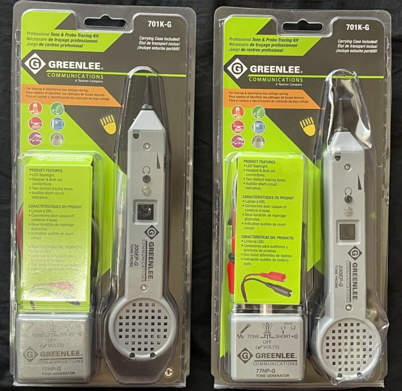 Two (2) New Sealed Greenlee Communications 701KG Tone and Probe Tracing Kit