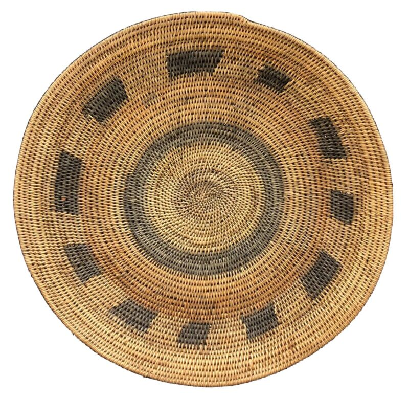 Vintage Zambia Handwoven Makenge Root African Wedding Basket Large 18.5""