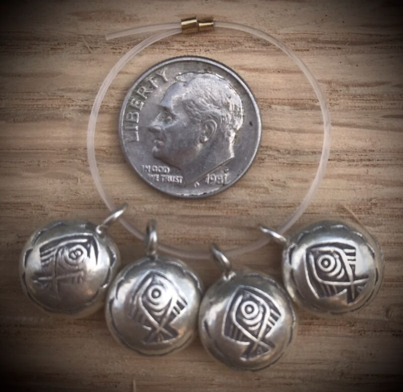 4 Hill Tribe Silver Puffy Fish Charms