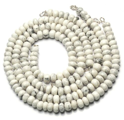 """Natural Gem White Howlite 10MM Size Faceted Rondelle Beads Necklace 17"""""""