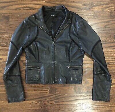 Bebe Genuine Leather Jacket Black Cropped Zip Front Biker Moto Zipper Sleeves