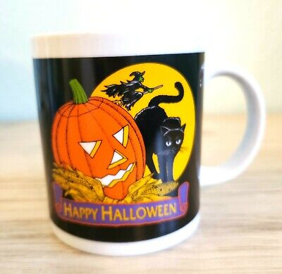Halloween Super Cute Ceramic Coffee Or Tea Mug Witch Pumpkin Black Cat! EUC