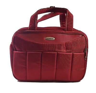 Samsonite 1910 Rare Red Luggage Soft Carryon Travel Hand Suitcase Pre- Owned