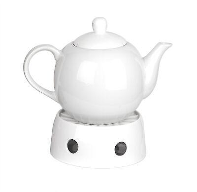 Teekanne weiß 1,1L Set mit Stövchen für Teelicht Porzellan Kaffeekanne Vintage