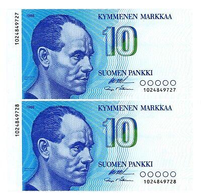 Finland ... P-113a ... 10 Markkaa ... 1986 ... *UNC* ... Consecutive Pair