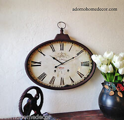 Rustic Metal Oval Wall Clock Old World Industrial Vintage Antique Chic Rust