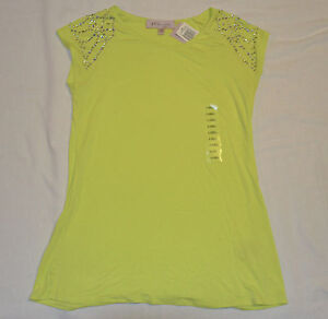 Philosophy by Republic Womens Beaded Green blouse Shirt size Extra small NWT