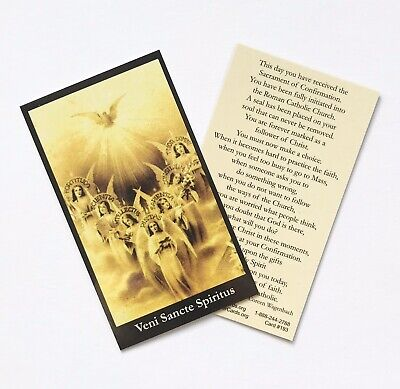 HOLY SPIRIT / CONFIRMATION - CATHOLIC Prayer Card - Wallet / Purse Size