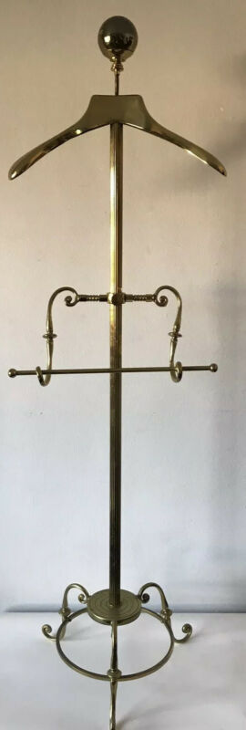 VINTAGE FRENCH BRASS GENTLEMEN VALET STAND 1960s MODERN - MADE IN FRANCE
