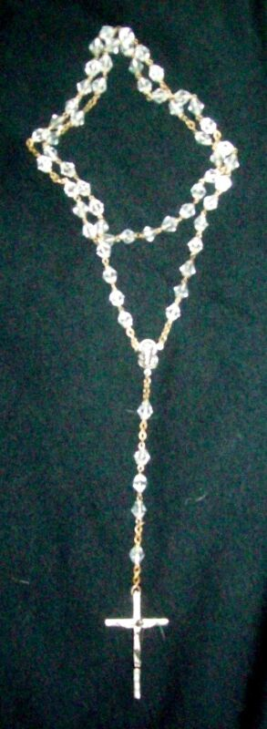 Lovely Vintage Crystal Inri Rosary