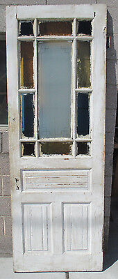 ~ ANTIQUE AMERICAN STAINED AND ETCHED GLASS DOOR ~32 X 89~ ARCHITECTURAL SALVAGE