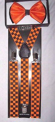 ORANGE WITH BLACK TIPS TUXEDO BOW TIE+ ORANGE CHECKERS  SUSPENDERS COMBO SET (Tie With Suspenders)