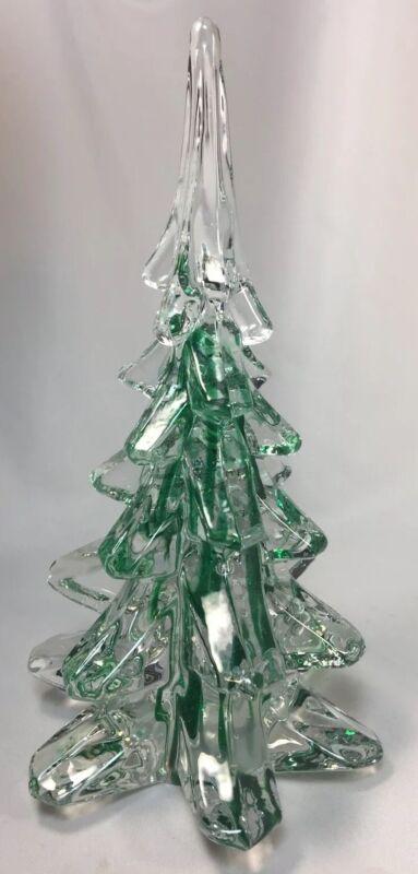 "Vintage Crystal CHRISTMAS TREE Green Ribbon SWIRL ART GLASS 8"""