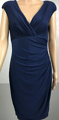 Navy  blue LAUREN RALPH LAUREN Dress stretch sleeveless faux wrap dress  - Sz 6
