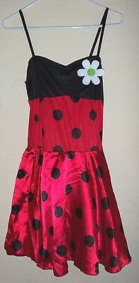 teen GIRLS LADYBUG FAIRY HALLOWEEN COSTUME DRESS LEGGINGS WINGS HEADPIECE CUTE!!