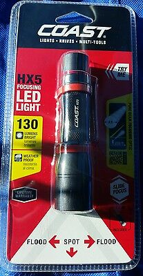"Coast HX5 Pure Beam Focusing Pocket Light High 130 Lumens 4.0"" 2.5 oz 20769 NEW"