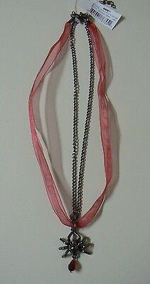 Ganz SPIDER NECKLACE Fabric Ribbon Metal Red Dangle Bead NEW Halloween Jewelry (Ganz Halloween Jewelry)