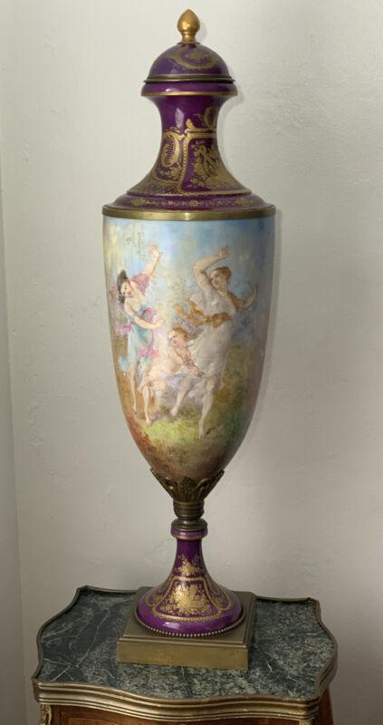 """RARE SEVRES  Porcelain  Bronze Handled Urn / Vase 33"""" Tall"""
