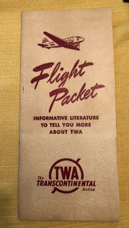 Vintage Trans World Airlines TWA Flight Packet Brochure August 1, 1945 Aviation