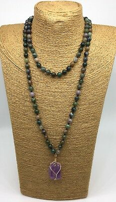 (Fashion semi precious stone long knot Agate Stones Natural Pendant Necklace)