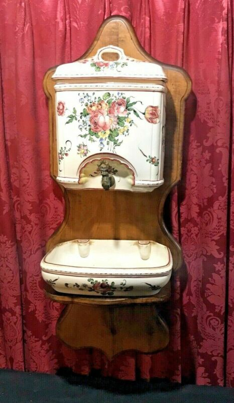 ANTIQUE FRENCH FLORAL DECORATED PORCELAIN WALL LAVABO FOUNTAIN WATER DISPENSER
