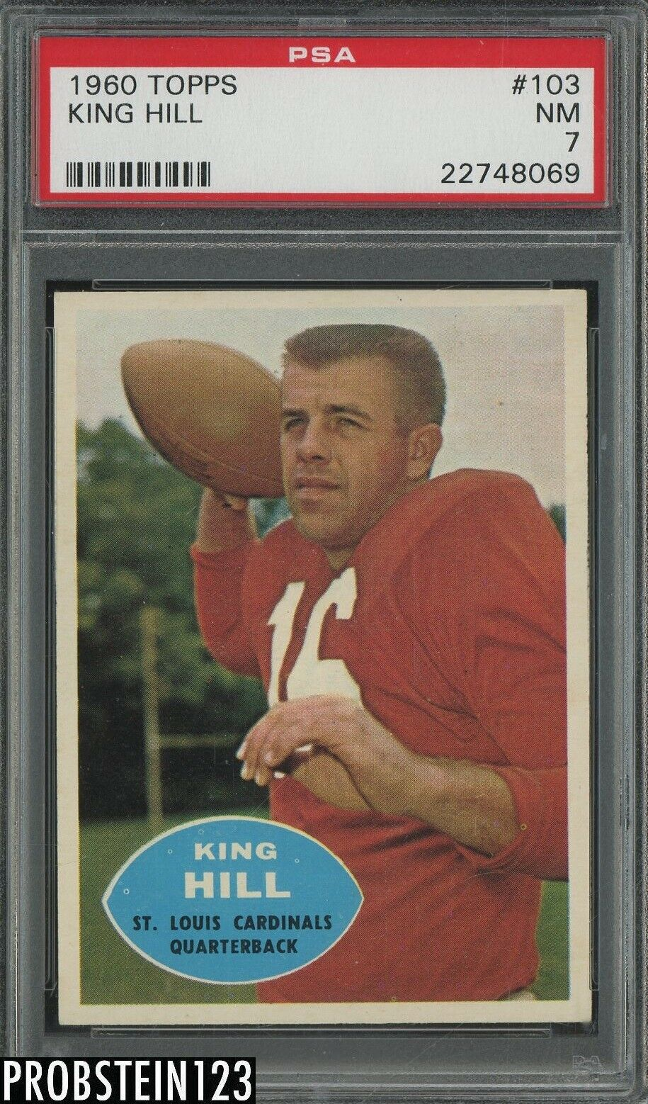 1960 Topps Football 103 King Hill St.Louis Cardinals PSA 7 NM - $12.54