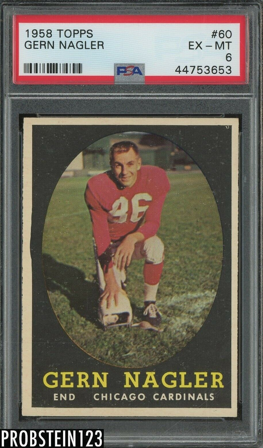 1958 Topps Football 60 Gern Nagler Chicago Cardinals PSA 6 EX-MT - $5.51
