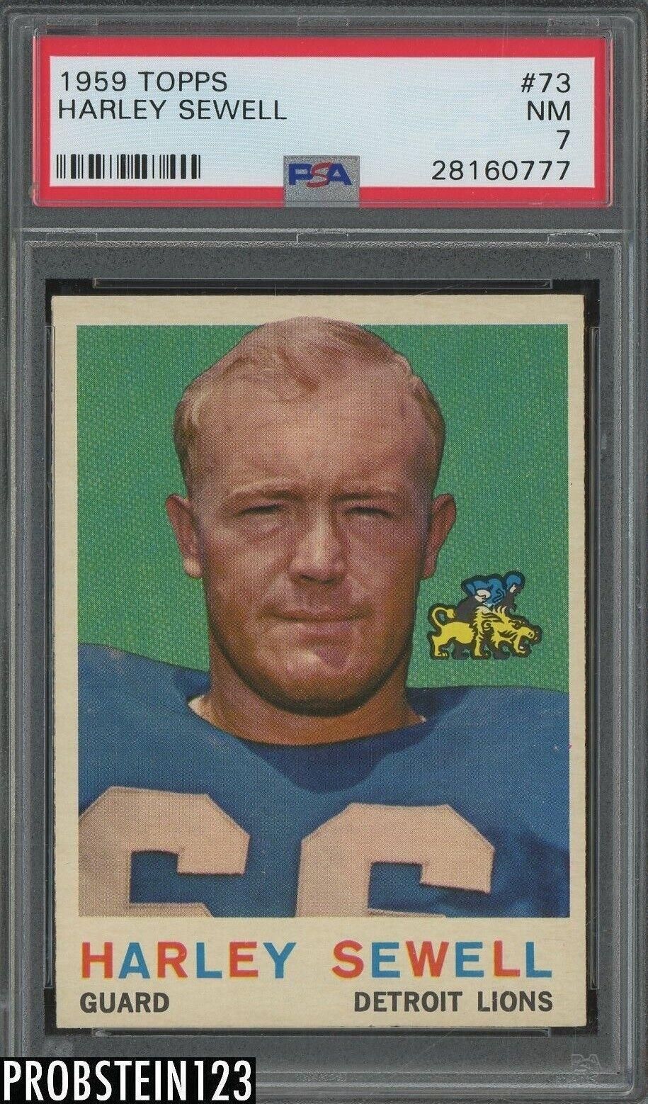 1959 Topps Football 73 Harley Sewell Detroit Lions PSA 7 NM - $7.50
