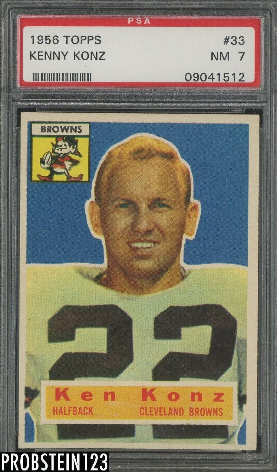 1956 Topps Football 33 Kenny Konz Cleveland Browns PSA 7 NM - $14.82