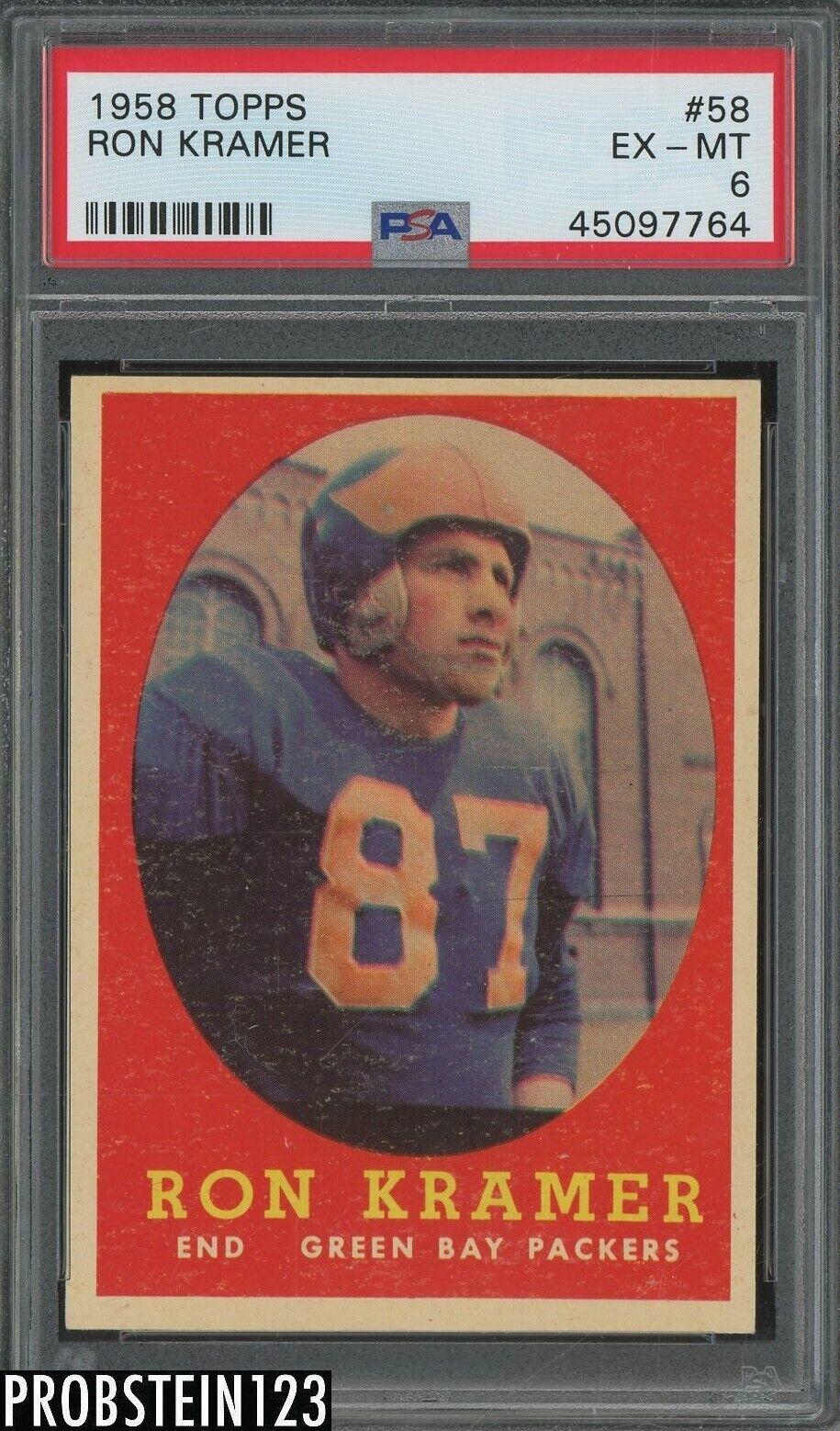 1958 Topps Football 58 Ron Kramer Green Bay Packers PSA 6 EX-MT - $77.88