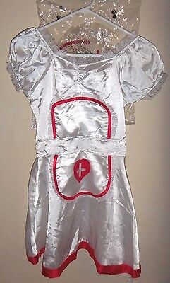 womens NEW NWT WHITE RED TRIM NAUGHTY SEXY NURSE HALLOWEEN COSTUME medium 3 PC @ - Naughty Nurse Halloween Costume