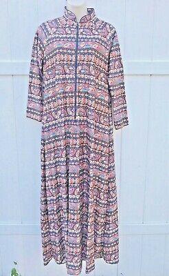 Vintage Full Length Robe Small JC Penney Loungewear Long Sleeve Pocket Zipper