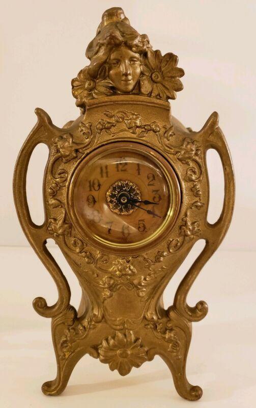 Antique Working 19th C. Gold Gilt Victorian Art Nouveau Mantel Shelf Alarm Clock