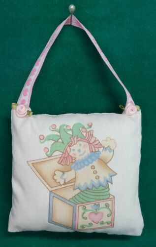 Handmade Fabric NURSERY DOOR KNOB HANGER Jack-In-The Box w/Pink Ribbon Hanger