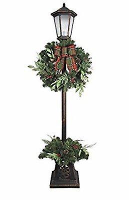 New! 7 Ft. Pre-Lit LED Lamp Post Christmas Decoration Lamp Post Tree Wreath