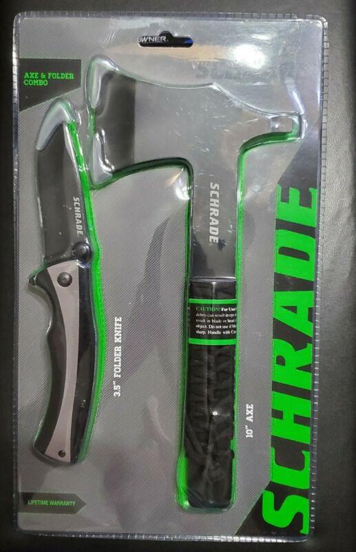 SEALED SCHRADE AXE & FOLDER KNIFE COMBO WITH AX SHEATH #1132984