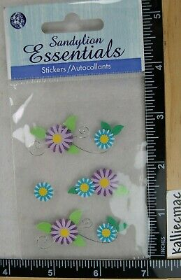 Sandylion PURPLE AND TURQUOISE FLOWERS AND WIRE Essentials Stickers SUMMER ](Purple And Turquoise)