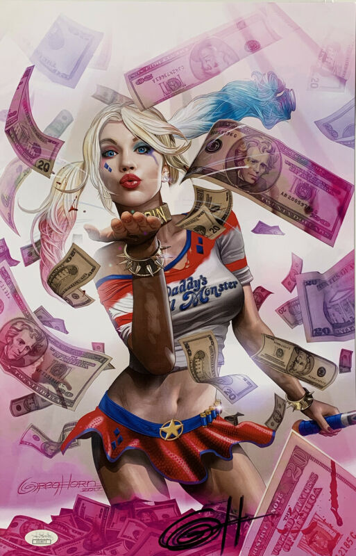 Harley Quinn: Blood Money Pink 11x17 Lithograph Signed By Greg Horn JSA