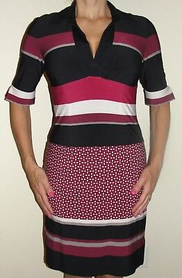 New Womens Studio 1 Dress Sz 6 Navy Purple White Striped Checkered Sheath