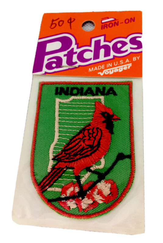 Vintage Cardinal Indiana Iron On Patch Made in USA by Voyager NEW/SEALED!