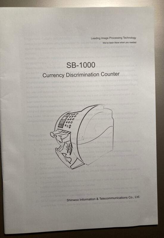 SB-1000 CURRENCY DISCRIMINATION COUNTER SHINWOO INFORMATION OPERATION MANUAL