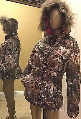 RealTree Womens Camo Bubble Jacket Hoodie 2 XL Fur Pink Mossy Oak Ladies Coat