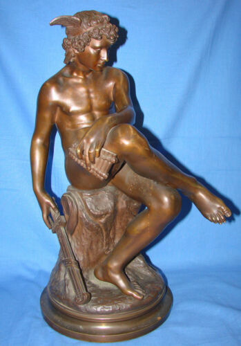 """*BEAUTIFUL SEATED HERMES by PIERRE M. MONTAGNE BRONZE CIRCA 1867 - 19"""" TALL*"""