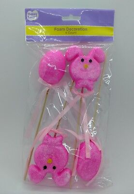 Easter Spring Foam Pink Glitter Rabbits & Eggs Decoration Party Supplies 4PCS