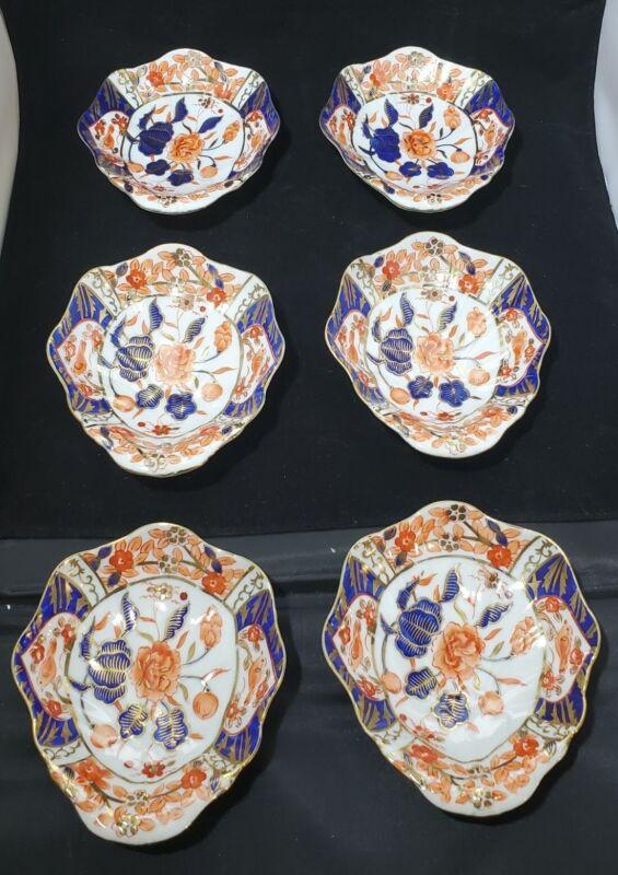 Antique English Imari Porcelain Dishes - Pattern 6351 - Set of Six