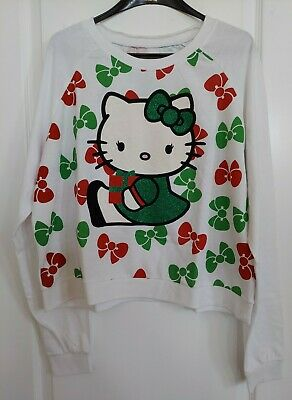 Sanrio Hello Kitty Junior's Christmas Long Sleeve Sweater Jumper Sweatshirt XL