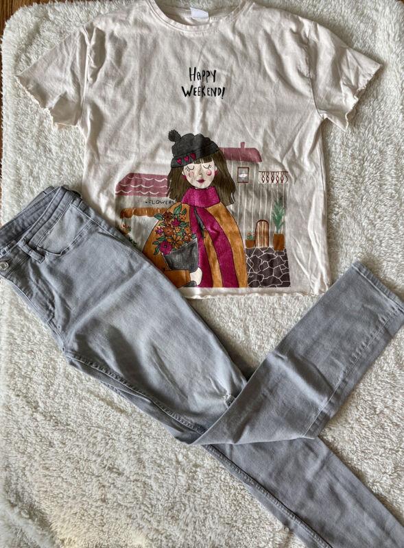 Girls Zara Shirt & H&M Jean Gray Pants Size 13/14 Lot Of 2