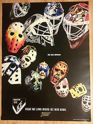 Molson Ice Beer Poster NHL Hockey Goalie Masks by Greg Harrison ~ Last Defense