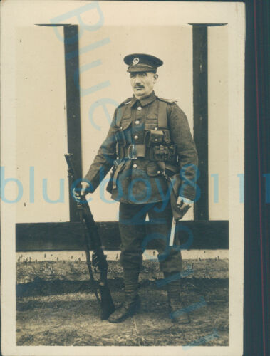 WW1 10th or 11th South Wales Borderers Soldier photo with rifle white wall