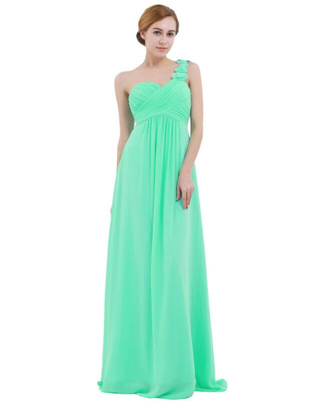 Damen One Shoulder Blumen Lang Chiffonkleid Abendkleider ...